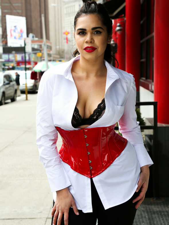 model wearing red PVC cs-201 waspie waist trainer steel boned corset