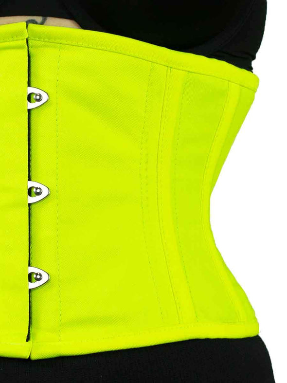 cs301 modern curve silhouette in NEON yellow green cotton corset detail view