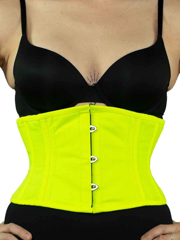 cs301 modern curve silhouette in NEON yellow green cotton corset