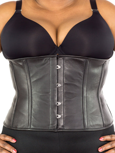 plus size 305 steel boned lamb leather corset front view