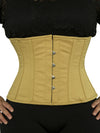 plus size 305 beige cotton steel boned waist training corset front view