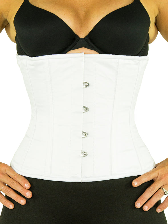 model wearing white satin cs 305 steel boned waist cincher corset, front