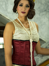 Model wearing pearls and our underbust 305 satin corset in wine