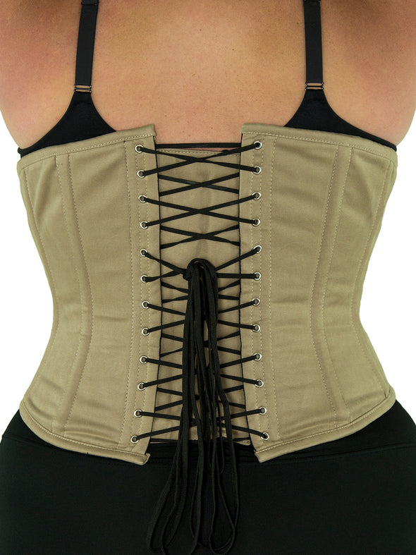 plus size 345 beige cotton steel boned corset back view