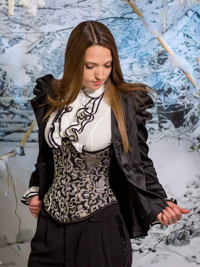 Model wearing CS345 steel boned corset in silver, gold and black brocade