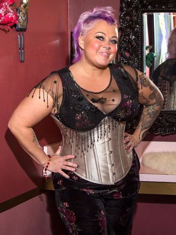Limited Edition Underbust Shimmering Taupe Shantung Corset (CS-345)