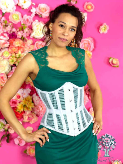 model  in sundress wearing 345 curvy white mesh waist trainer corset