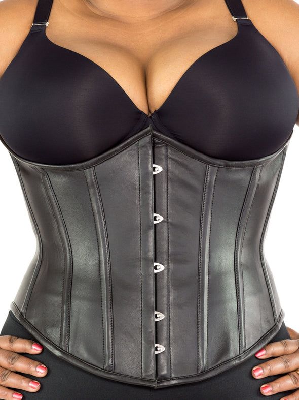 plus size 345 lamb leather steel boned corset front view