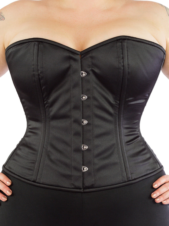 model wearing plus size cs 411 overbust black satin corset, front