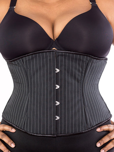 plus size 411 pinstripe waist training steel boned corset front view