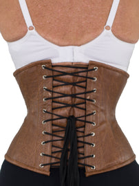 Distressed Faux Brown Leather Underbust Corset (CS-411 Standard)