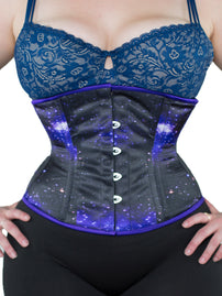 Purple & Black Galaxy Print Satin Standard Corset (CS-411 Standard)