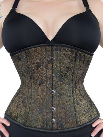 Limited Edition Black & Gold Lace Overlay Longline Underbust Corset (CS-411 Longline)
