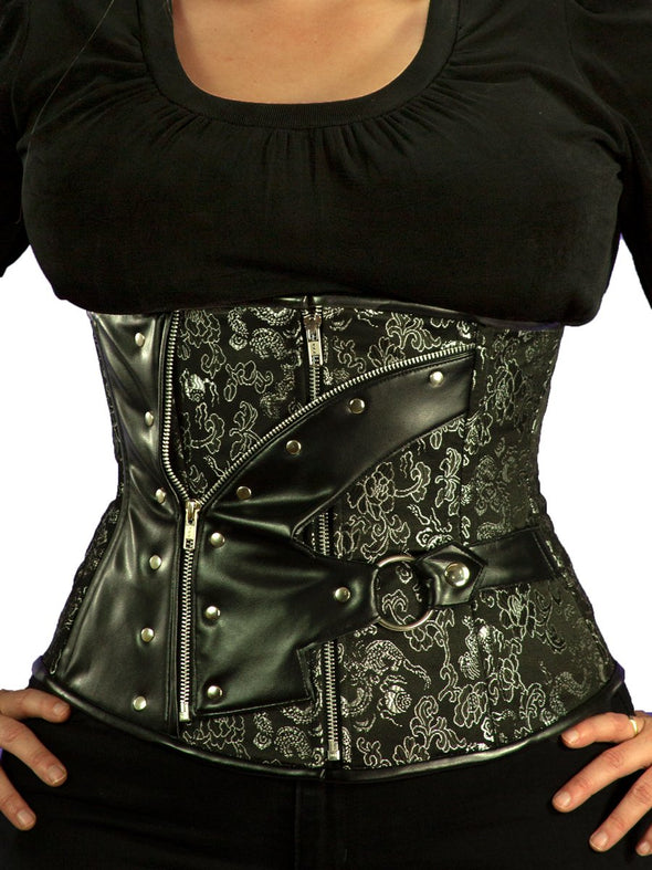 Limited Edition Black and Silver Brocade Zipper Corset (CS-411 Longline)