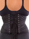 plus size 411 black cotton steel boned waist training corset back view