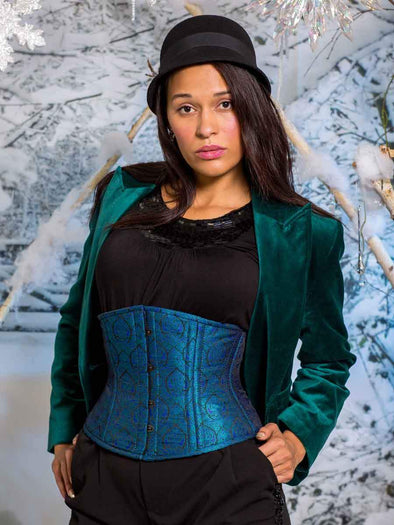 Model wearing our 411 Standard teal and purple brocade steel boned corset