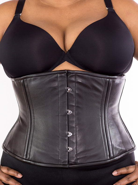 plus sized 411 lamb leather steel boned corset front view