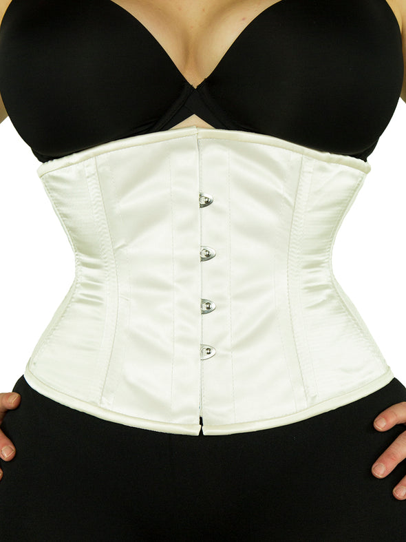 plus size 411 ivory satin steel boned corset front view
