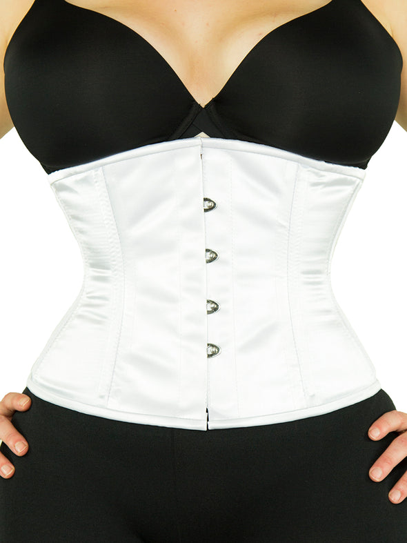 plus size 411 white satin steel boned corset front view