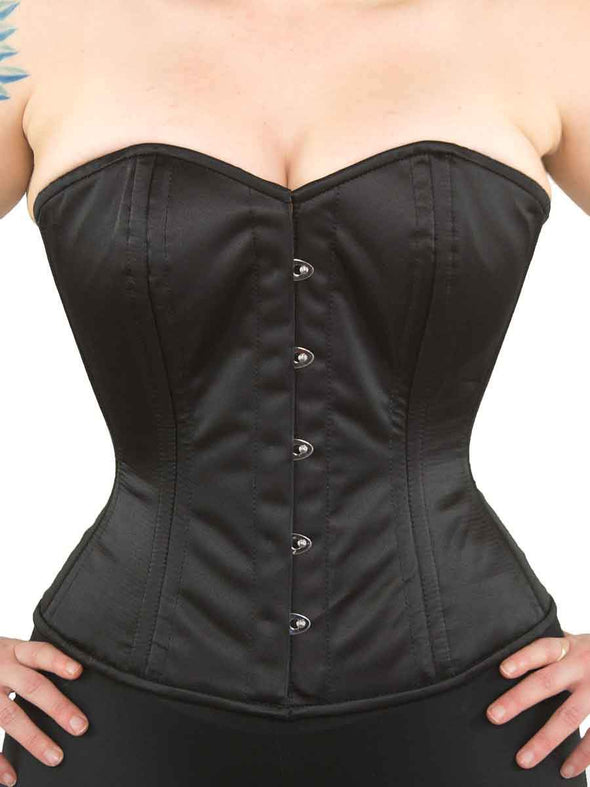 black satin romantic curve cs 411 overbust black satin corset top