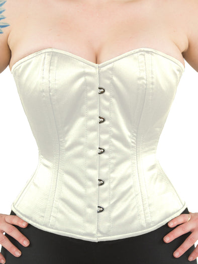 model wearing cs 411 overbust ivory satin corset front