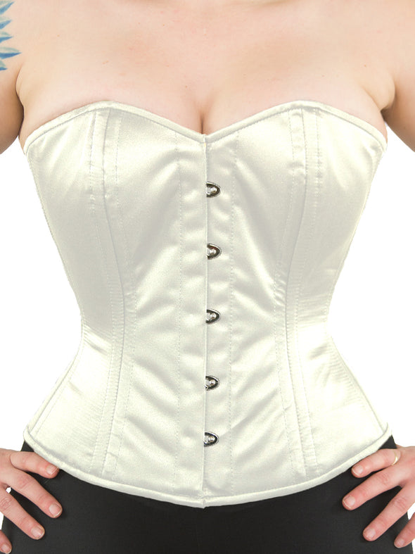 model wearing plus size cs 411 overbust ivory satin corset, front
