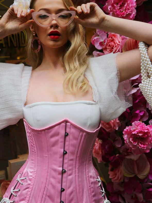 Satin Hourglass Curve Longline Underbust Corset with Hip Ties : CS-426