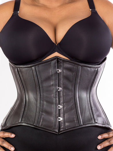 model wearing cs 426 plus sized standard black leather waist training corset, front