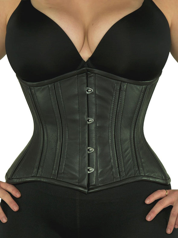 cs426 standard black leather steel boned corset front view