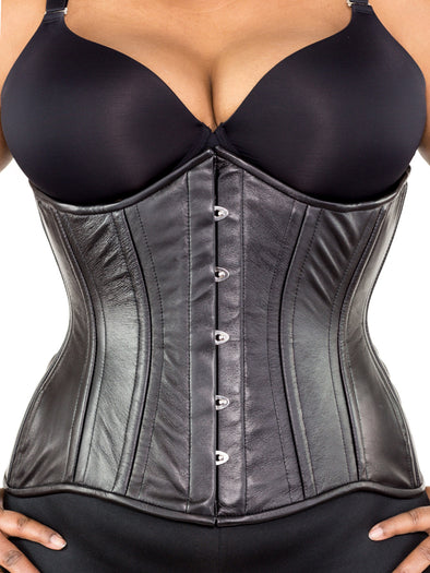 plus size black lamb leather 426 longline steel boned corset front view