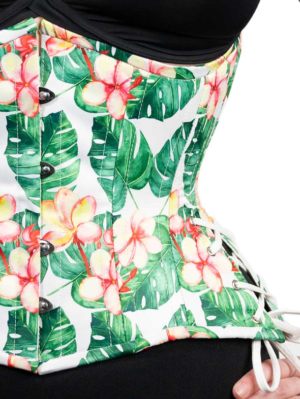 Limited Edition Monstera Print Satin Hourglass Curve Standard Underbust Corset with Hip Ties | CS-426