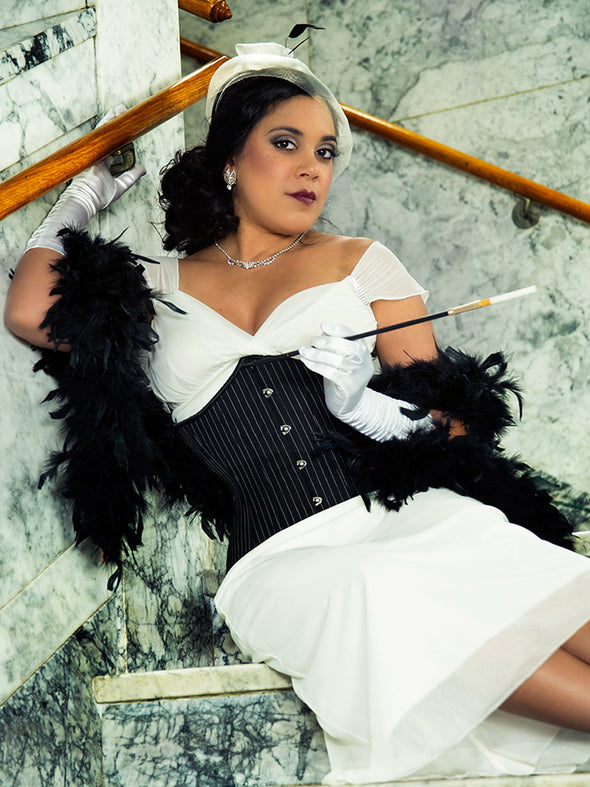 model wearing the plus size 426 longline pinstripe steel boned waist training corset