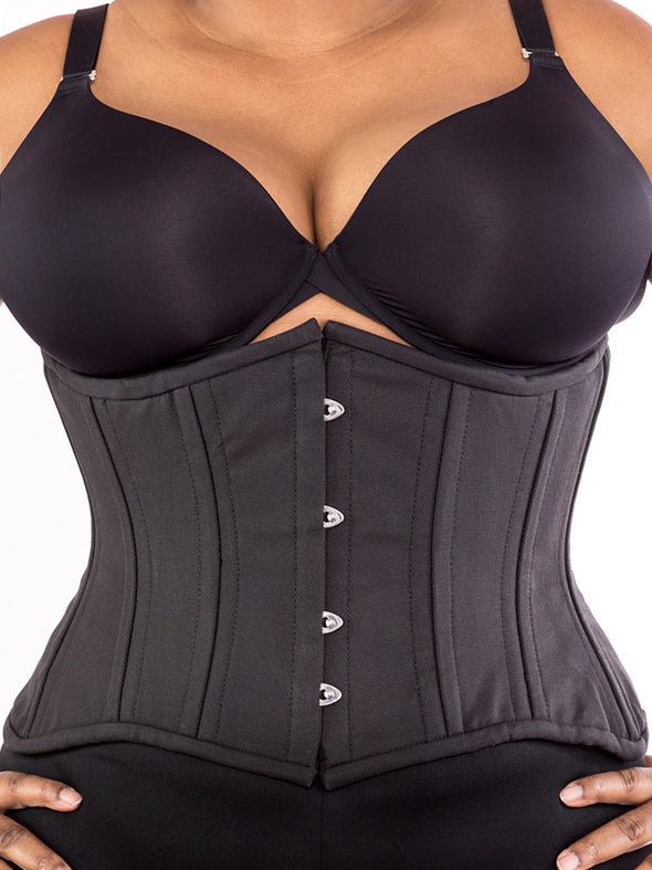 plus size 426 black cotton steel boned corset front view