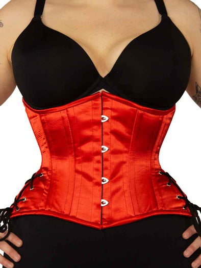 CS-426 Standard red satin waist trainer corset top with hip ties for Valentines Day