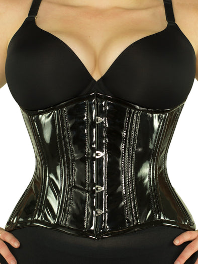 cs 426 black pvc plus size steel boned corset front view