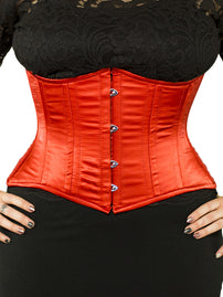 Plus Size Steel-Boned Short Red Satin Corset (CS-426 Short)