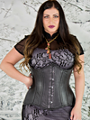 Model wearing our underbust 426 longline steel boned black leather corset