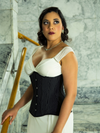 model in a white dress with cs 426 longline pinstriped steel boned corset