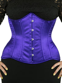 Steel-Boned Longline Underbust Purple Satin Corset (CS-426)