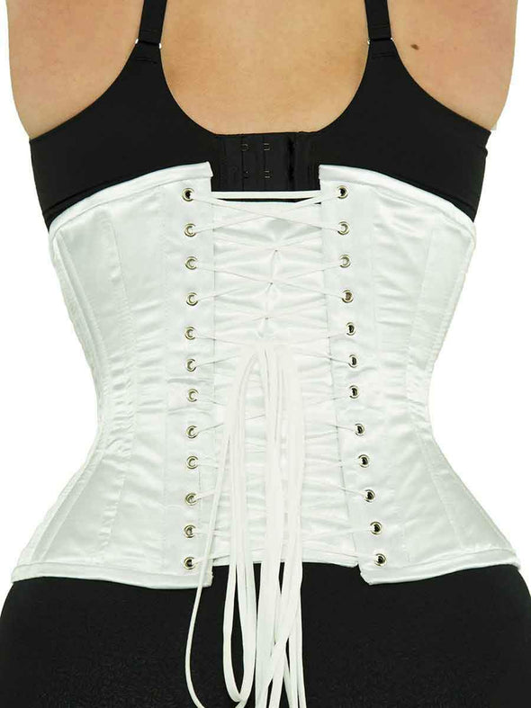 plus size 426 white satin steel boned waist training corset back lace up view