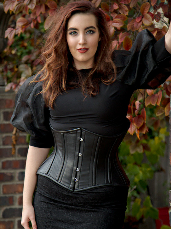 model wearing the cs426 standard black leather waist training corset front view
