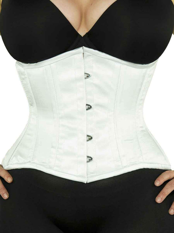 plus size 426 white satin steel boned waist training corset front view