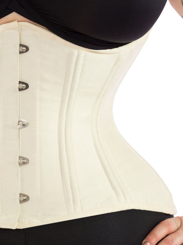 cs479 extreme curve waist training ivory satin corset front view