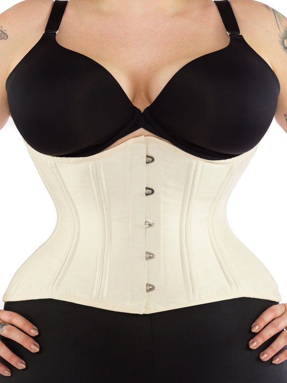 Front view of plus size 479 extreme curve underbust ivory satin corset