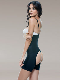 Vedette 504 Latex Mid-Thigh Open Butt Underbust Body Briefer Black rear booty