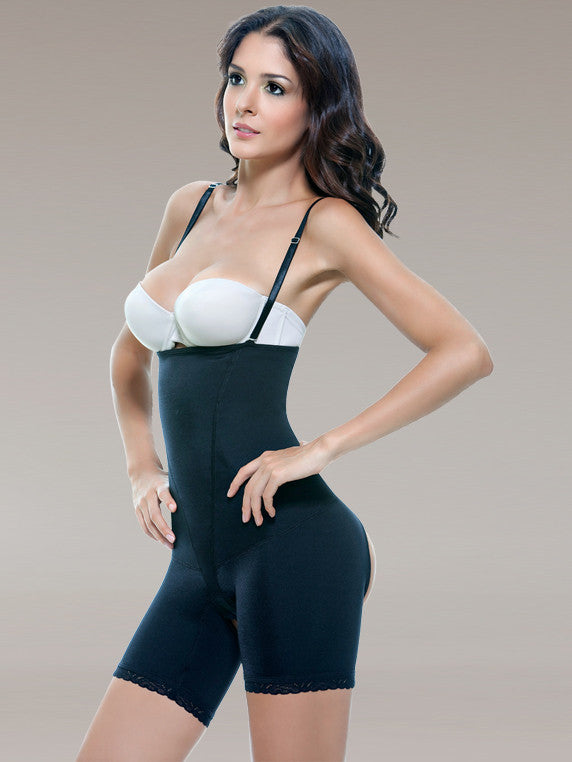 Vedette 504 Latex Mid-Thigh Open Butt Underbust Body Briefer Black rear glam