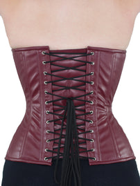 Overbust Maroon Faux Leather Corset (CS-511)