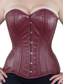 Deep Maroon Faux Leather Overbust Corset (CS-511)