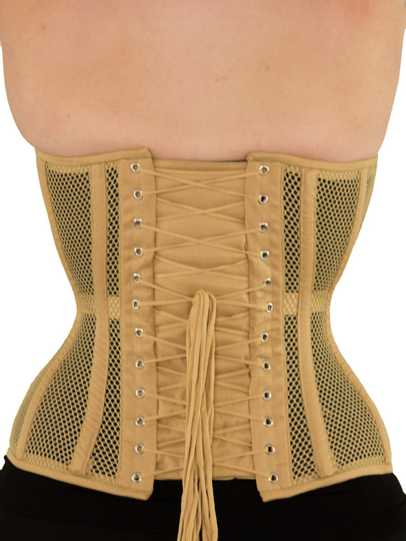 model wearing beige plus size cs511 overbust mesh corset, back