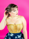 model wearing cs 511 beige mesh overbust corset